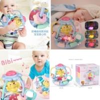 Mainan bayi bola rattle/teether+musik dan lampu