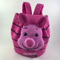 Tas rajut ransel anak piglet/ tas pink