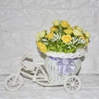 Pot Sepeda Rotan Bunga Mawar Mini