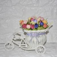 Pot Sepeda Rotan Bunga Mawar Kuncup