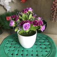 Pot Shabby Bunga Mawar Mini