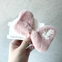 Daisy Fur Bow (pink / choco / grey) Nylon Headband