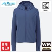 UNIQLO AIRism Women Jaket Wanita UV CUT MESH HOODIE Blue
