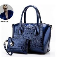 tas jinjing tangan wanita kerja formal biru paket 3in1 import glossy