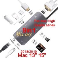 9 in 1 Type C Hub to HDMI VGA PD Lan micro sd TF Charge 3 USB 3.0