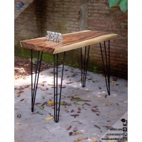 Meja bar industrial style slab wood kayu suar / trembesi / meh