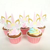 Cup cake topper / tusukan kue cup cake - tanduk unicorn (isi 5)