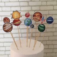 Cake topper / tusukan kue / hiasan kue - planet tata surya