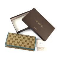 DOMPET GUCCI ORIGINAL-Gucci Canvas Continental Bifold Wallet Trim