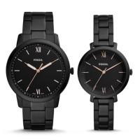 Couple Watch Three Hand Black Steel Fossil