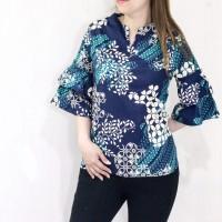 Baju batik wanita model lengan terompet pendek fit XL u/ atasan kerja