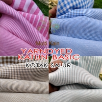bahan kain katun cotton tenun yarndyed salur ria kotak ria basik basic