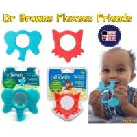 Teether dr browns flexees Friends mainan gigit bayi elephant blue
