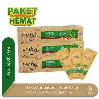 Bundling 3 Pcs Sasha Tooth Paste Antibacterial 65 gr + 3 Pcs Antibacte