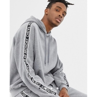 Hoodie Pullover cheap monday oversize tape hoodie grey black original