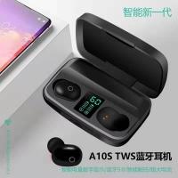 Headset Bluetooth LCD 5.0 airpods powerbank 1800Mah 2IN1 A10S Airdots - Hitam