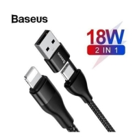 BASEUS Cable 2IN1 Type C + USB A To Lightning PD 18W Original