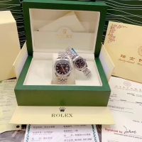 Jam Couple Rolex Date Just Automatic Steel Silver Gold Sapphire FulSet