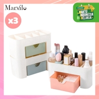 Marvilo Rak Makeup Kosmetik Serbaguna Bahan Plastik 3 Pcs - Merah Muda thumbnail