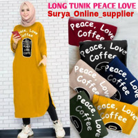 PROMO TUNIK PEACE LOVE COFFE /COFFE LONG TUNIK / FASHION WANITA