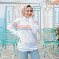 PROMO Sweater Rajut Turtleneck Rainbow MURAH