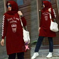 PROMO TUNIK JUMBO FIRST I NEED COFFE / TUNIK FASHION WANITA MUSLIM