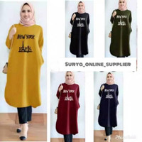 PROMO TUNIK N.Y PARIS TUNIK FASHION WANITA JUMBO/NO KANTONG KANAN &