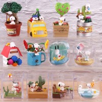 6pcs set Snoopy Figure Woodstock Happy Terrarium Peanuts Camping Snor