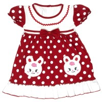 Jual Baju Dress Bayi Perempuan Kaos Katun 6 12 Bulan Motif Two Cute Bunny Merah Jakarta Barat Myjac Collection Tokopedia