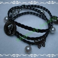 Braid Pearly Coin Long - Black Silver (B-04 Black)