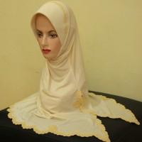 Jilbab Praktis Bordir [JP10] Motif Bola Kecil Warna Krem
