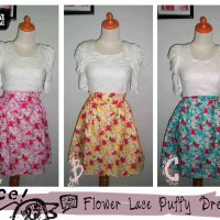 Flower Lace Puffy Dress