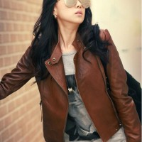 Leather Jacket Studded Chain