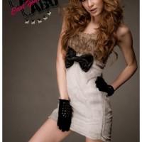 Fur Ribbon Cutie Mini Dress