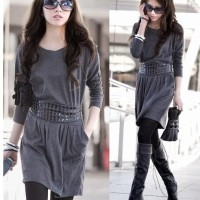 Conciseness Design Grey Dress with Belt