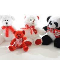 white bears, panda bear and red bears