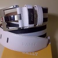 #B91, Ikat Pinggang BALLY LUXURY Belt / White-Black Stripe