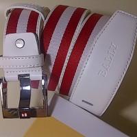 #B93, Ikat Pinggang BALLY LUXURY Belt / White-Red Stripe