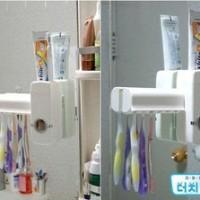 New Toothpaste Dispenser & Brush Set WHITE