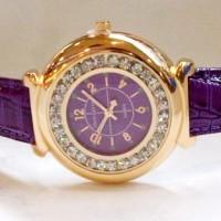 Jam Tangan Wanita Louis Vuitton Chanted Leather (Purple Gold)