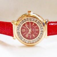 Jam Tangan Wanita Louis Vuitton Chanted Leather (Red Gold)