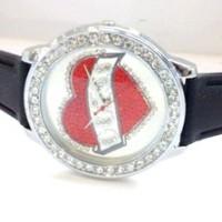 Jam Tangan Wanita Guess Love Diamond Rubber (Red)