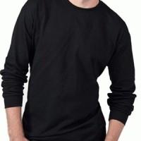 kaos polos O-neck hitam panjang size : XXL