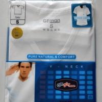 Jual Kaos Oblong GTMan Putih V-neck Murah