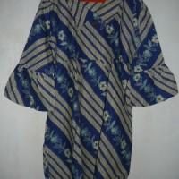dress batik berkerah biru motif bunga diagonal Nad