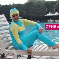 BAJU RENANG FEMININE series Muslimah Swimwear (Baby Blue +Yellow) ZERF201008