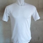 kaos polos putih O-neck pendek size: L