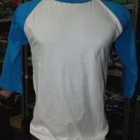 kaos raglan 3/4 size : L body putih