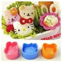 Jual Cetakan Nasi / Rice Mold / Bento Tools 3 in 1 (1 set isi 3 : Hello Kitty + Bear + Bunny) Murah