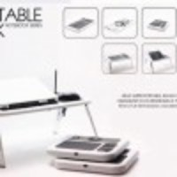 T04 - Portable Compact Desk With Fan, Cup Holder, Mouse Pad, Pen Standing(Warna putih)